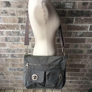 BAGGALLINI Grey Crossbody Purse Bag Organizer Gray